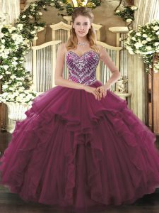 Affordable Sleeveless Lace Up Floor Length Beading and Ruffles Ball Gown Prom Dress