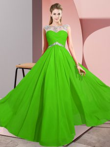 Beading Prom Party Dress Green Clasp Handle Sleeveless Floor Length
