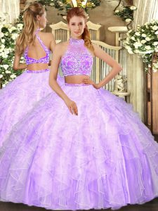 Customized Lilac Sleeveless Tulle Criss Cross 15 Quinceanera Dress for Military Ball and Sweet 16 and Quinceanera