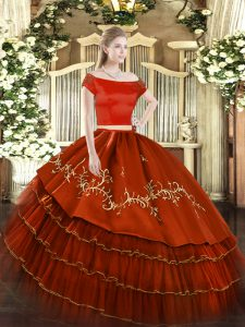 Vintage Short Sleeves Embroidery and Ruffled Layers Zipper Quinceanera Gown