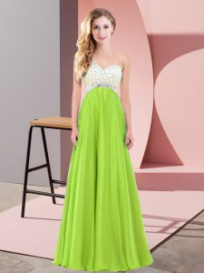 Sleeveless Chiffon Lace Up Prom Dress for Prom and Party