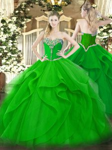 Green Sweetheart Neckline Beading and Ruffles 15th Birthday Dress Sleeveless Lace Up