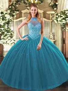Glittering Teal Lace Up Sweet 16 Quinceanera Dress Beading and Embroidery Sleeveless Floor Length