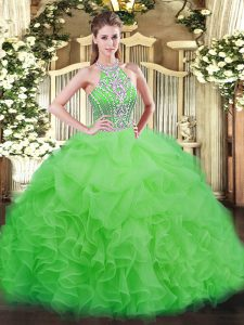 Graceful Tulle Lace Up Halter Top Sleeveless Floor Length Quinceanera Dresses Beading and Ruffles