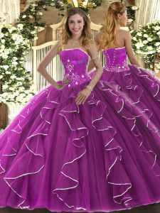 Affordable Sleeveless Tulle Floor Length Lace Up Vestidos de Quinceanera in Fuchsia with Beading and Ruffles