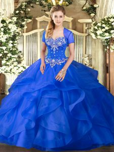 Pretty Blue Lace Up Sweetheart Beading and Ruffles 15 Quinceanera Dress Tulle Sleeveless