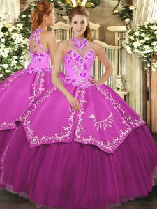 Custom Design Fuchsia Ball Gowns Satin and Tulle Halter Top Sleeveless Beading and Embroidery Floor Length Lace Up Quinceanera Dress