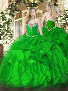 Wonderful Green Ball Gowns Organza Sweetheart Sleeveless Beading and Ruffles Floor Length Lace Up Sweet 16 Dresses