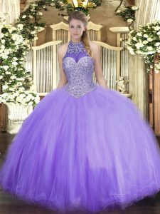Lavender Tulle Lace Up Halter Top Sleeveless Floor Length Vestidos de Quinceanera Beading