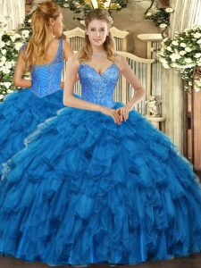 Blue Quinceanera Gowns Military Ball and Sweet 16 and Quinceanera with Beading and Ruffles V-neck Sleeveless Lace Up