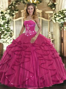 Strapless Sleeveless Sweet 16 Quinceanera Dress Floor Length Beading and Ruffles Hot Pink Tulle