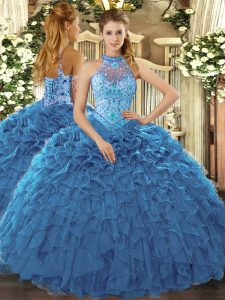 Latest Teal Sweet 16 Dress Prom and Sweet 16 and Quinceanera with Beading and Ruffles Halter Top Sleeveless Lace Up