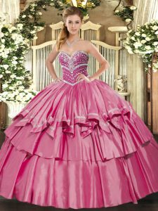 Best Hot Pink Sleeveless Organza and Taffeta Lace Up 15 Quinceanera Dress for Military Ball and Sweet 16 and Quinceanera