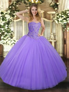 Lavender Vestidos de Quinceanera Military Ball and Sweet 16 and Quinceanera with Beading Sweetheart Sleeveless Lace Up