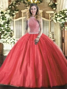 Red Tulle Lace Up High-neck Sleeveless Floor Length 15 Quinceanera Dress Beading
