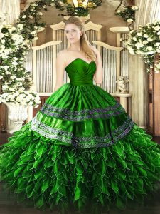 Green Sleeveless Organza and Taffeta Zipper Ball Gown Prom Dress for Military Ball and Sweet 16 and Quinceanera