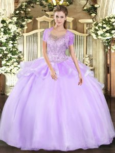 Floor Length Lavender 15 Quinceanera Dress Tulle Sleeveless Beading and Ruffles