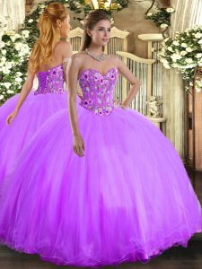 Custom Design Floor Length Lavender 15 Quinceanera Dress Sweetheart Sleeveless Lace Up