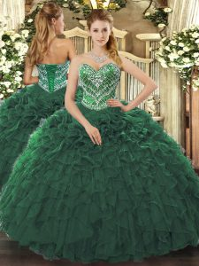 Customized Ball Gowns 15th Birthday Dress Dark Green Sweetheart Tulle Sleeveless Floor Length Lace Up