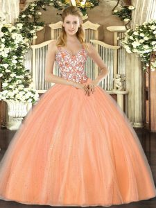 Orange Lace Up Straps Beading and Appliques Quinceanera Dress Organza Sleeveless