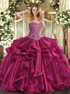 Trendy Wine Red Sweetheart Neckline Beading and Ruffles Vestidos de Quinceanera Sleeveless Lace Up