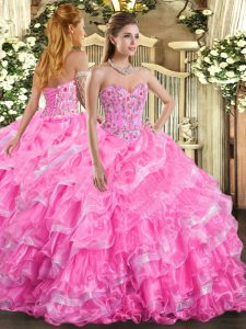 Sweetheart Sleeveless Lace Up 15 Quinceanera Dress Rose Pink Organza