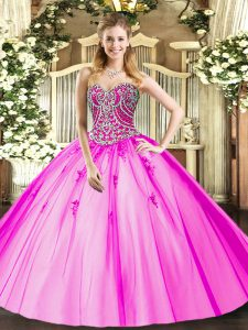 Sexy Sleeveless Floor Length Beading and Appliques Lace Up Quinceanera Dresses with Lilac