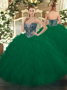Floor Length Lace Up Quince Ball Gowns Dark Green for Military Ball and Sweet 16 and Quinceanera with Beading and Ruffles