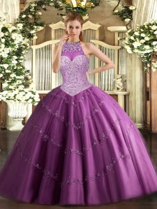 Most Popular Beading and Appliques Quinceanera Dress Fuchsia Lace Up Sleeveless Floor Length