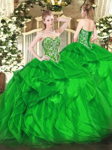 Organza Sweetheart Sleeveless Lace Up Beading and Ruffles Sweet 16 Quinceanera Dress in Green