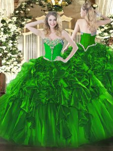 Glorious Green Organza Lace Up Sweet 16 Quinceanera Dress Sleeveless Floor Length Beading and Ruffles