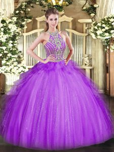 Super Floor Length Ball Gowns Sleeveless Lavender Ball Gown Prom Dress Lace Up