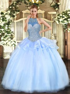 Captivating Floor Length Blue Quince Ball Gowns Halter Top Sleeveless Lace Up