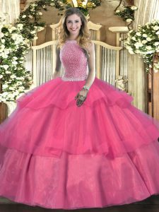 Trendy Hot Pink Ball Gowns Beading and Ruffled Layers Quinceanera Dresses Lace Up Tulle Sleeveless Floor Length