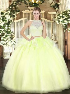 Yellow Green Zipper Scoop Lace Sweet 16 Dress Tulle Sleeveless