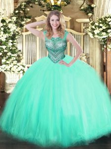 Fancy Apple Green Scoop Neckline Beading Sweet 16 Dress Sleeveless Lace Up
