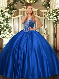 Smart Royal Blue Lace Up Straps Beading Ball Gown Prom Dress Satin Sleeveless