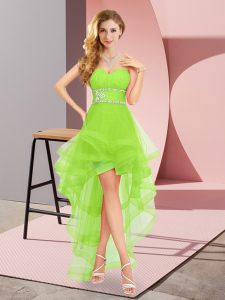 Excellent A-line Sweetheart Sleeveless Chiffon High Low Lace Up Beading Dress for Prom