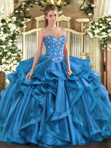 Spectacular Floor Length Blue Sweet 16 Dress Organza Sleeveless Embroidery and Ruffles