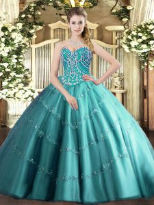 Floor Length Lace Up Sweet 16 Quinceanera Dress Teal for Military Ball and Sweet 16 and Quinceanera with Beading and Appliques