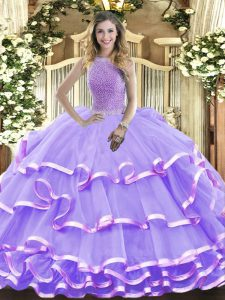 Lavender High-neck Neckline Beading and Ruffled Layers Quince Ball Gowns Sleeveless Lace Up