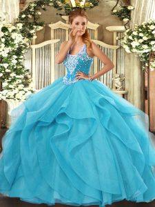 Free and Easy Aqua Blue Straps Lace Up Beading and Ruffles Sweet 16 Quinceanera Dress Sleeveless