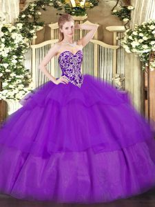 Sexy Sleeveless Tulle Floor Length Lace Up Sweet 16 Dress in Purple with Beading and Ruffled Layers