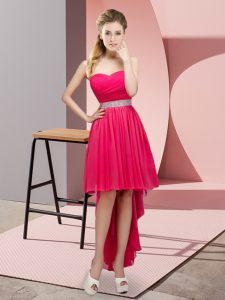 Hot Pink A-line Sweetheart Sleeveless Chiffon High Low Lace Up Beading Prom Party Dress