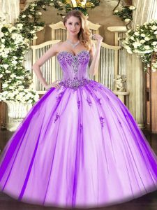 Sleeveless Tulle Floor Length Lace Up Quinceanera Dress in Lavender with Beading and Appliques