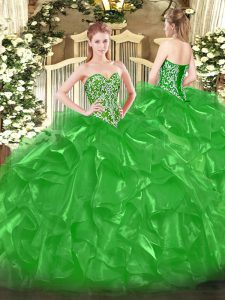 Super Green Sleeveless Organza Lace Up Sweet 16 Dresses for Military Ball and Sweet 16 and Quinceanera