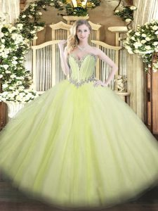 Dynamic Sweetheart Sleeveless Lace Up Sweet 16 Dress Yellow Green Tulle