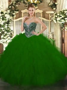 Sweetheart Sleeveless Lace Up Quinceanera Dress Green Tulle