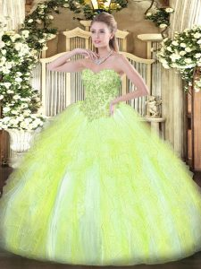 Modern Yellow Green Quinceanera Gown Sweet 16 and Quinceanera with Appliques and Ruffles Sweetheart Sleeveless Lace Up