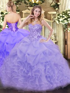 Captivating Lavender Ball Gowns Sweetheart Sleeveless Organza Floor Length Lace Up Appliques and Ruffles Ball Gown Prom Dress